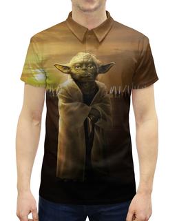 """Рубашка Поло с полной запечаткой """"Звездные войны - Йода"""" - star wars, звездные войны, дарт вейдер, йода, фантастика"""