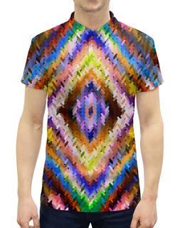 """Рубашка Поло с полной запечаткой """"Ромбы"""" - узор, цветные, ромбы, вязание, вязаный"""