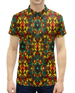 """Рубашка Поло с полной запечаткой """"Цветная мозаика"""" - цветы, узор, листья, весна, роспись"""