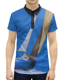 """Рубашка Поло с полной запечаткой """"Парусник"""" - море, отдых, поло, парусник, яхтинг"""
