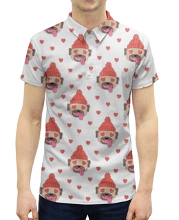 """Рубашка Поло с полной запечаткой """"Собака"""" - любовь, новый год, собака, 2018, год собаки"""