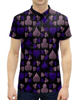"""Рубашка Поло с полной запечаткой """"Покер"""" - карты, игры, фигуры, символы, масти"""