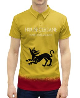 """Рубашка Поло с полной запечаткой """"House Clegane"""" - сериал, игра престолов, game of thrones, clegane, клеганы"""