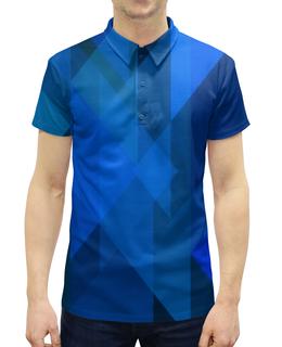 """Рубашка Поло с полной запечаткой """"Синий абстрактный"""" - графика, синий, краски, абстракция, треугольники"""