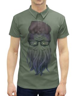 """Рубашка Поло с полной запечаткой """"Ктулху хипстер"""" - ктулху, хипстер, очки, борода"""