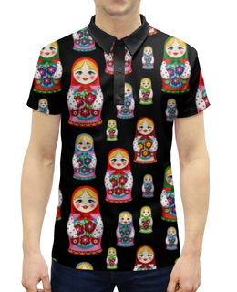"""Рубашка Поло с полной запечаткой """"Матрёшки"""" - красиво, матрёшки, ярко, чёрный фон, расписная кукла"""