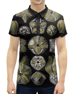 """Рубашка Поло с полной запечаткой """"Blastoidea, Ernst Haeckel"""" - оригинальный, стильный, биология, красота форм в природе, эрнст геккель"""
