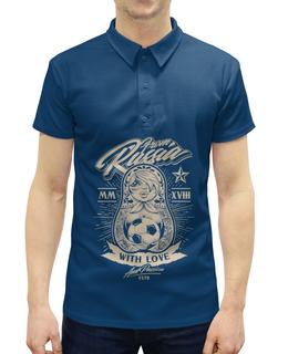 """Рубашка Поло с полной запечаткой """"Футбол"""" - футбол, спорт, матрёшка"""
