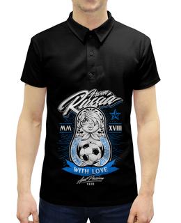 """Рубашка Поло с полной запечаткой """"Футбол"""" - спорт, футбол, матрёшка"""