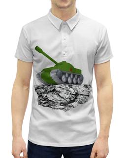 """Рубашка Поло с полной запечаткой """"С 23 февраля!"""" - 23 февраля, день защитника отечества, танк, февраль, прадник"""