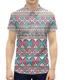 """Рубашка Поло с полной запечаткой """"Графика"""" - графика, узор, ромбы, треугольники, абстракция"""