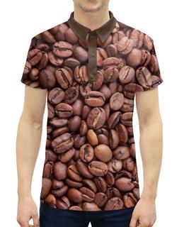 """Рубашка Поло с полной запечаткой """"Зерна кофе"""" - утро, напиток, кофе, коричневый, зерна"""