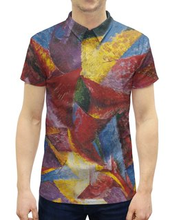 """Рубашка Поло с полной запечаткой """"Пластичные формы лошади (картина Умберто Боччони)"""" - картина, живопись, футуризм, кубизм, боччони"""