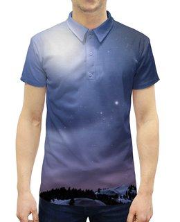 """Рубашка Поло с полной запечаткой """"Без названия"""" - космос, небо, луна, звёзды, галактика"""