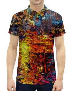 "Рубашка Поло с полной запечаткой ""Корабли"" - море, картина, краски, закат, корабли"
