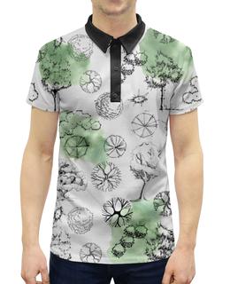 """Рубашка Поло с полной запечаткой """"Деревья в стиле """"скетч"""""""" - деревья, природа, иллюстрация, 23февраля, мужчинам"""