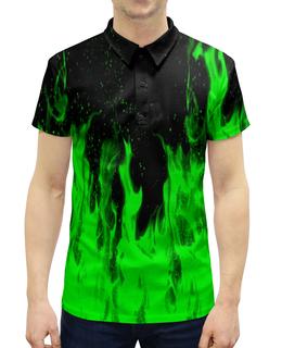 """Рубашка Поло с полной запечаткой """"Огонь"""" - огонь, зеленый, краски, пламя, огненный"""