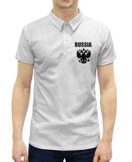 """Рубашка Поло с полной запечаткой """"Russia"""" - русский, россия, герб, russia, флаг"""