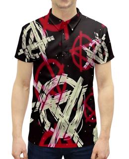 """Рубашка Поло с полной запечаткой """"Анархия"""" - рисунок, надписи, знаки, символы, анархия"""