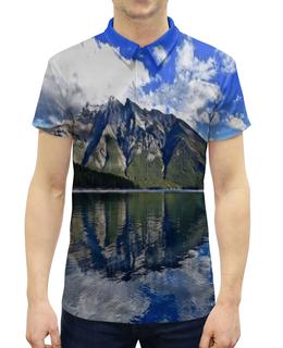 """Рубашка Поло с полной запечаткой """"Горы у берега"""" - лес, облака, природа, горы, пейзаж"""
