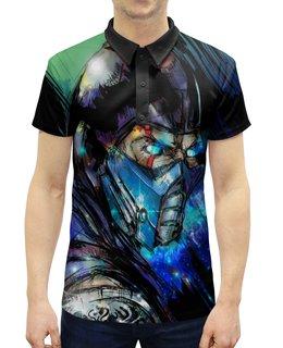 """Рубашка Поло с полной запечаткой """"Mortal Kombat X (Sub-Zero)"""" - космос, боец, воин, sub-zero, mortal kombat"""