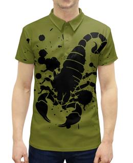 """Рубашка Поло с полной запечаткой """"Скорпион (24.10-21.11)"""" - крутой, оригинальный, стильный, скорпион, биология"""
