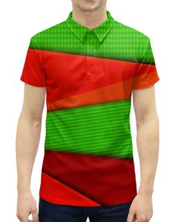 """Рубашка Поло с полной запечаткой """"Цветные полосы"""" - узор, полосы, краски, текстура, линии"""