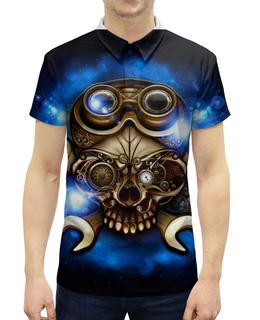 """Рубашка Поло с полной запечаткой """"Стимпанк-череп"""" - череп, очки, дизайн, стимпанк, гаечный ключ"""