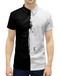 """Рубашка Поло с полной запечаткой """"Киллер"""" - рисунок, черно-белые, оружие, убийца, киллер"""