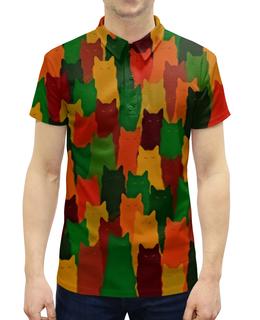 """Рубашка Поло с полной запечаткой """"Домашние питомцы"""" - кошка, животные, cat, коты, котики"""