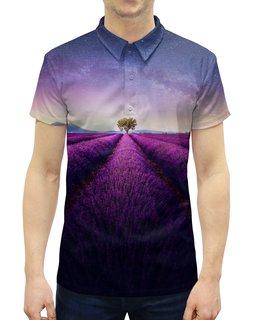 """Рубашка Поло с полной запечаткой """"Без названия"""" - космос, небо, природа, звёзды, лаванда"""