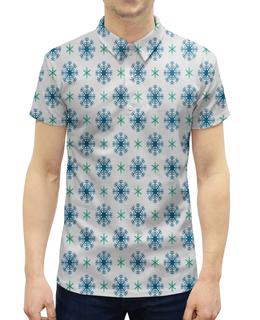 """Рубашка Поло с полной запечаткой """"Падающие снежинки"""" - новый год, узор, зима, снег, снежинки"""