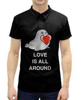 """Рубашка Поло с полной запечаткой """"Love. Тюлень. Любовь."""" - любовь, счастье, отношения, подарок, любимым"""