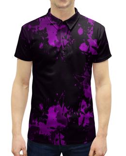 """Рубашка Поло с полной запечаткой """"Брызги красок"""" - узор, фиолетовый, пятна, краски, цветные"""