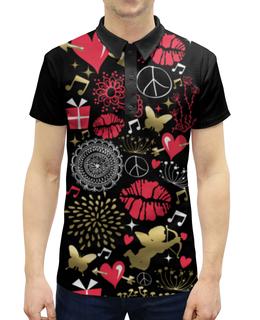 """Рубашка Поло с полной запечаткой """"Валентинка"""" - сердце, любовь, губы, валентинка"""