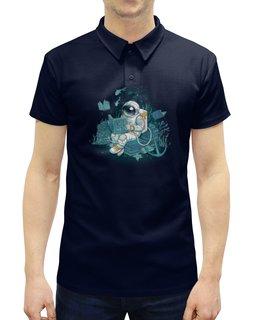 """Рубашка Поло с полной запечаткой """"Морская глубина"""" - космос, вода, космонавт, скафандр, глубина"""