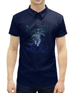 """Рубашка Поло с полной запечаткой """"Космическая глубина"""" - космос, вода, космонавт, скафандр, глубина"""