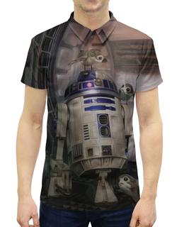 """Рубашка Поло с полной запечаткой """"Звездные войны - R2-D2"""" - кино, фантастика, star wars, звездные войны, дарт вейдер"""