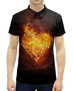 """Рубашка Поло с полной запечаткой """"Огненное сердце"""" - сердце, любовь, огонь, страсть, чувства"""