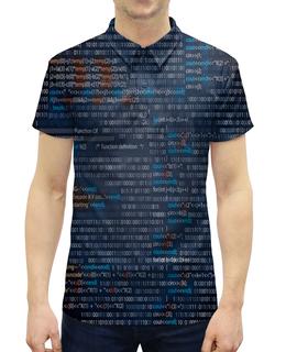 """Рубашка Поло с полной запечаткой """"Кодирование"""" - надписи, знаки, символы, матрица, цифры"""