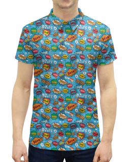 """Рубашка Поло с полной запечаткой """"Boom коллекция"""" - boom, попарт, поп арт, приключение, эмоции"""