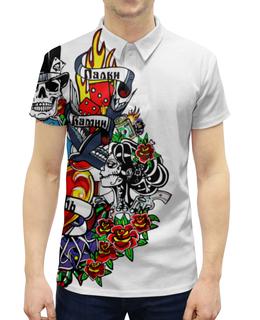 """Рубашка Поло с полной запечаткой """"Палки, Камни, Любовь"""" - музыка, олдскул, иллюстрация, панкрок"""