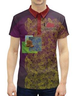 """Рубашка Поло с полной запечаткой """"I <3 chocolate"""" - орнамент, вишня, английский, chocolate, шокоголик"""