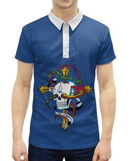 """Рубашка Поло с полной запечаткой """"Череп"""" - череп, змея"""