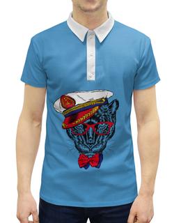 """Рубашка Поло с полной запечаткой """"Кот - мореход"""" - кот, моряк"""