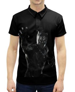 """Рубашка Поло с полной запечаткой """"Черная пантера"""" - комиксы, марвел, черная пантера, black panther"""