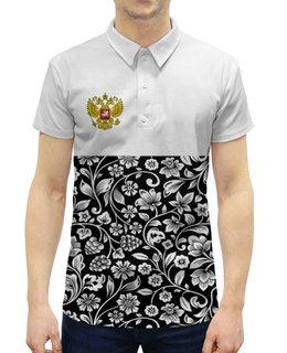 """Рубашка Поло с полной запечаткой """"Цветы и герб"""" - цветы, россия, герб, орел, хохлома"""