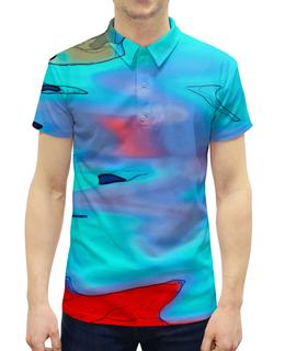 """Рубашка Поло с полной запечаткой """"Блики на воде"""" - пятна, краски, цветные, вода, блики"""
