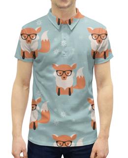 """Рубашка Поло с полной запечаткой """"Лисички"""" - животные, лисички, лиса, очки"""