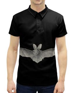 """Рубашка Поло с полной запечаткой """"Летучая мышь, Ernst Haeckel"""" - стильный, хеллоуин, летучая мышь, красота форм в природе, эрнст геккель"""